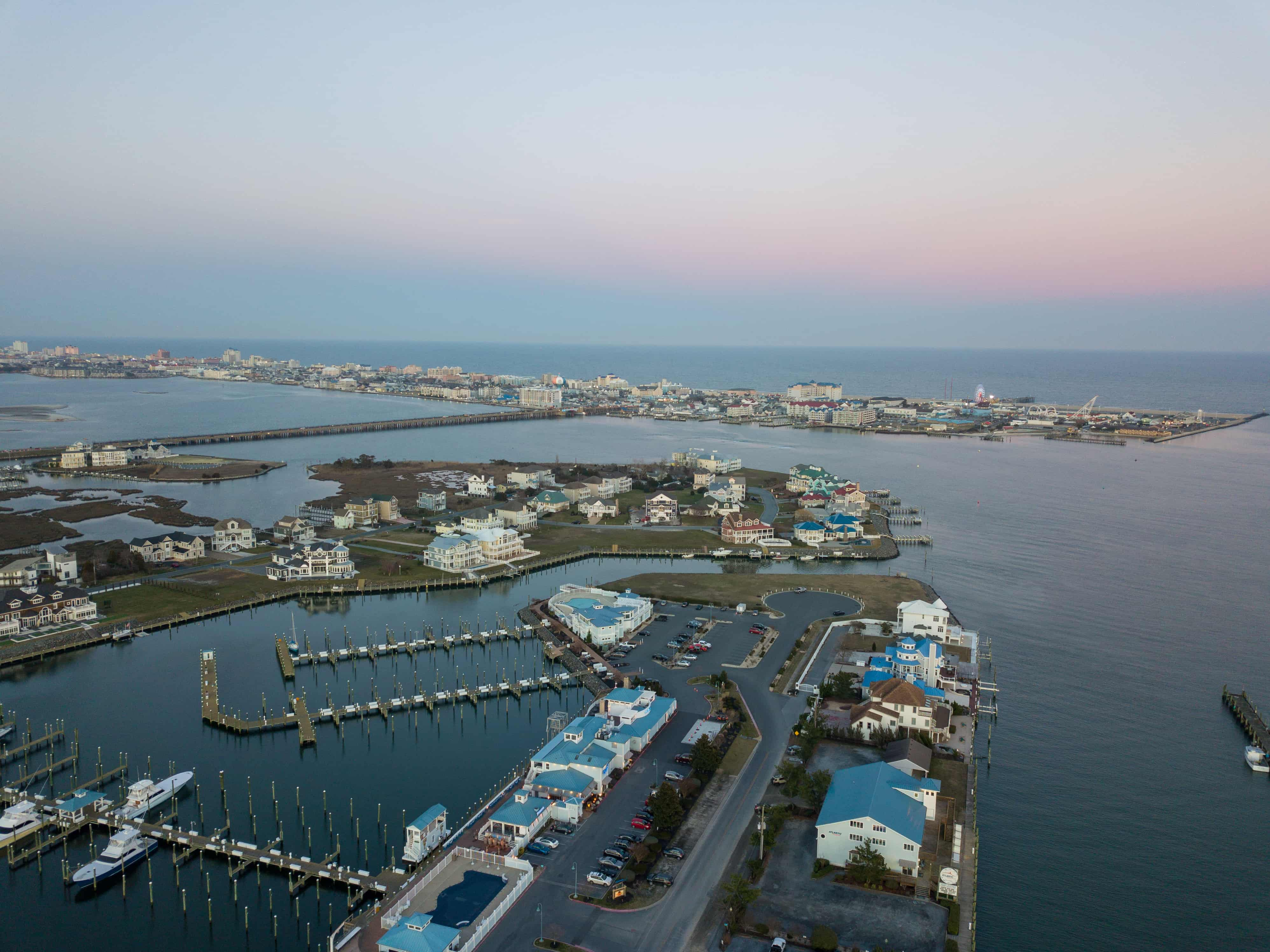 Aerial view of Ocean City's White Marlin harbor